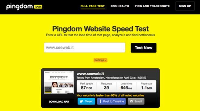 Speed Test sito web