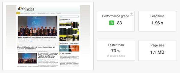 Speed test WordPress blog Seeweb