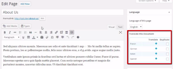 Come rendere WordPress multilingua con WPML screenshot esemplificativo