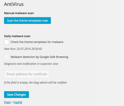 Antivirus For WordPress plugin per la sicurezza del sito o blog
