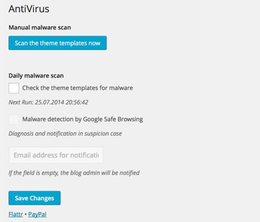 Antivirus For WordPress plugin per la sicurezza del sito o blog