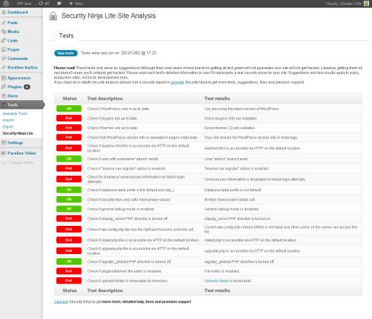 Security Ninja plugin per la sicurezza WordPress